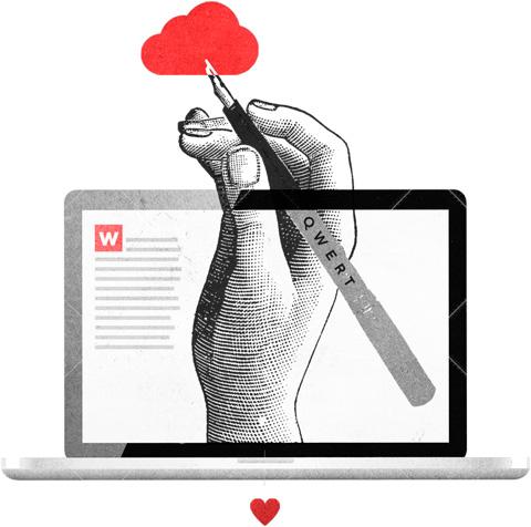 imagen de laptop con pluma en mano representando servico copywriting