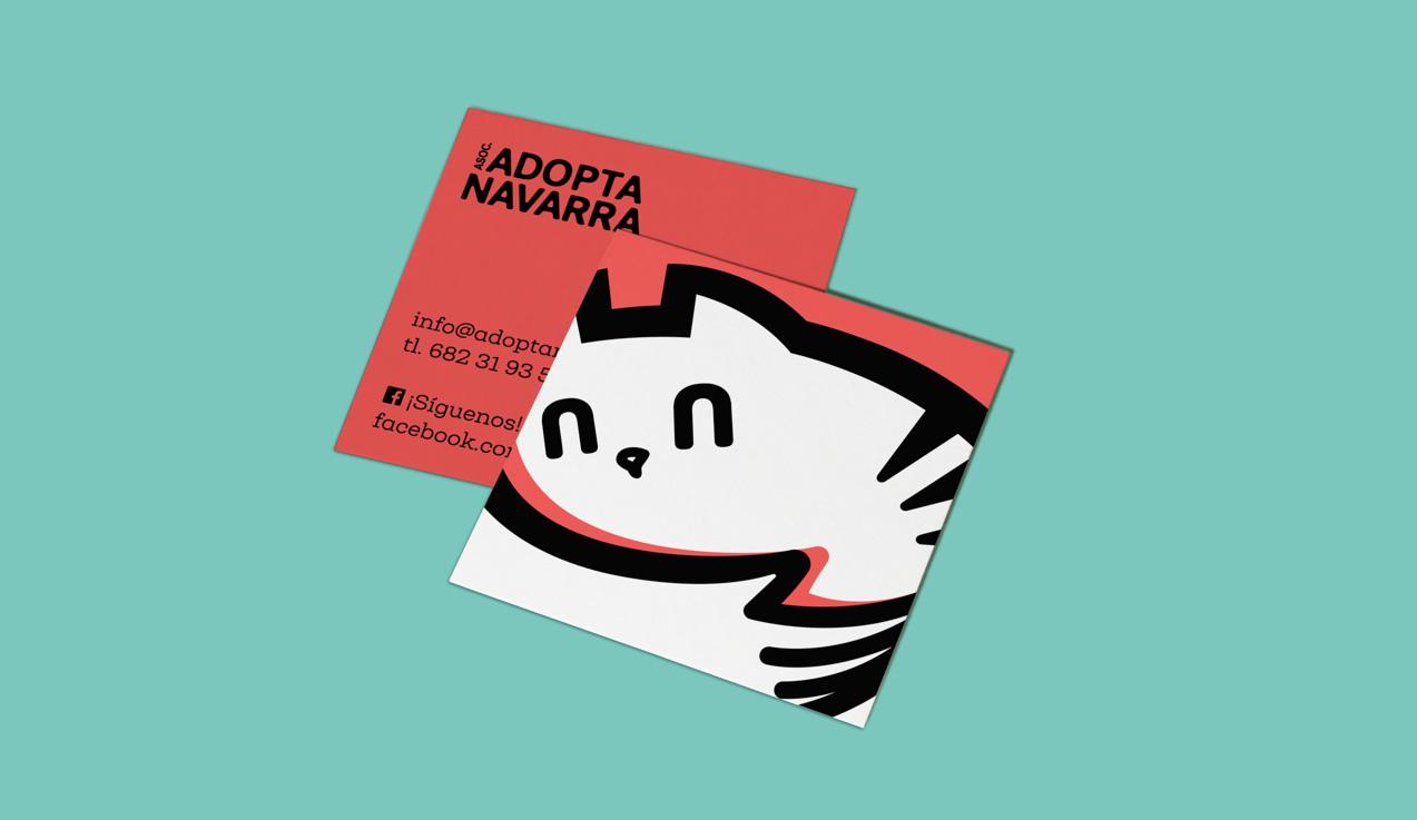 Diseño de tarjetas de visita de Adopta Navarra
