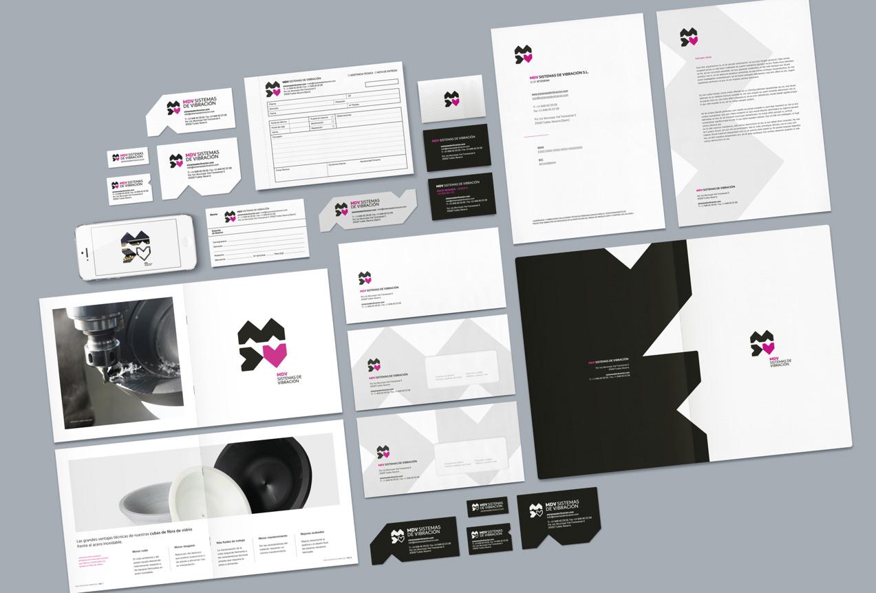 diseño de aplicaciones de papelería de MDV