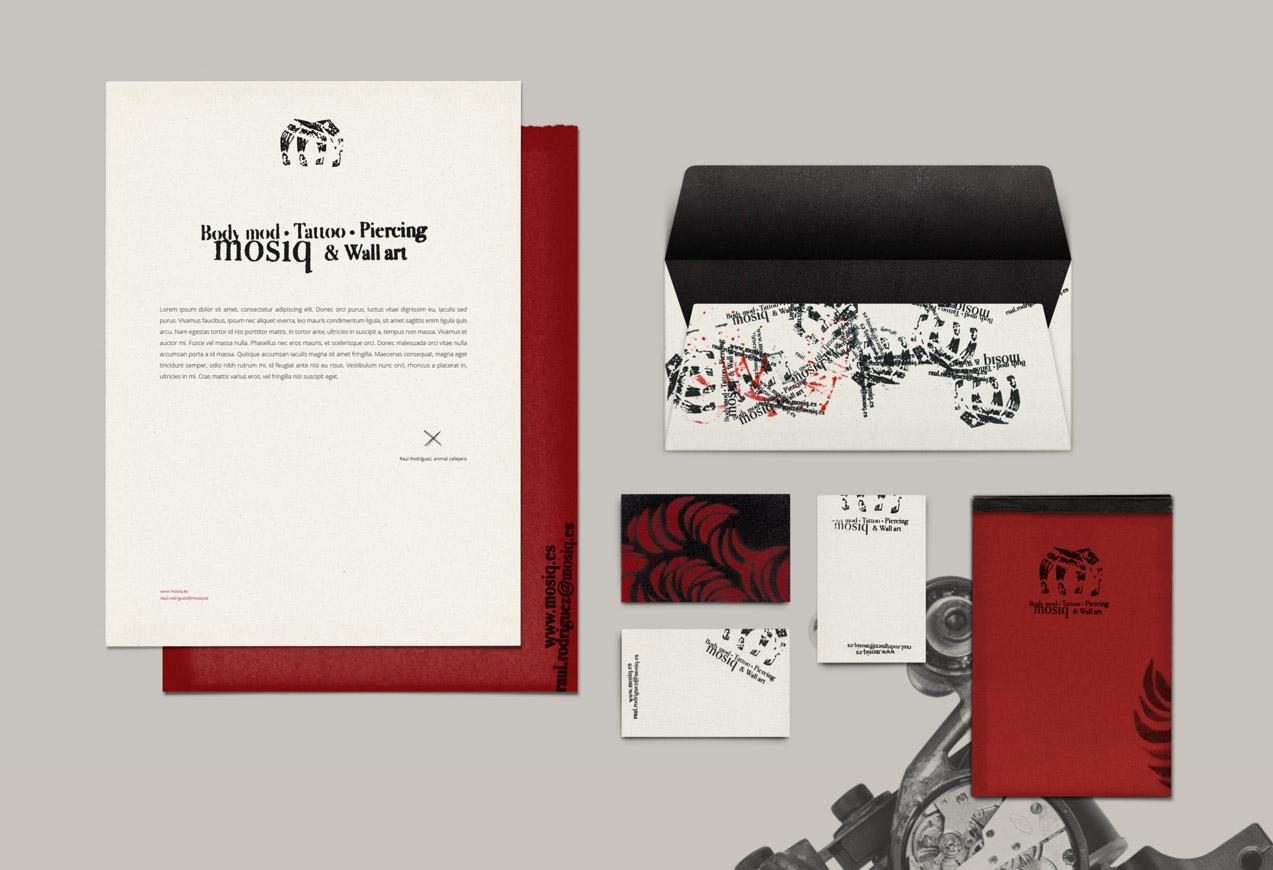 diseño de papelería corporativa de mosiq body mod tattoo piercing & wall art