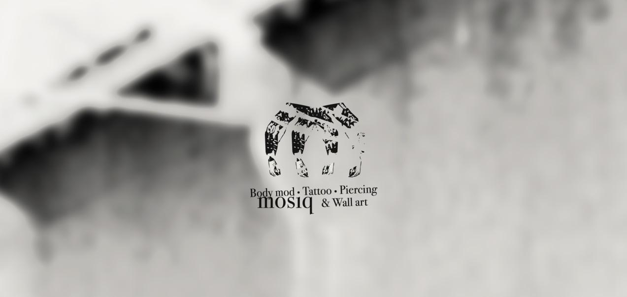diseño de logotipo de mosiq body mod tattoo piercing & wall art