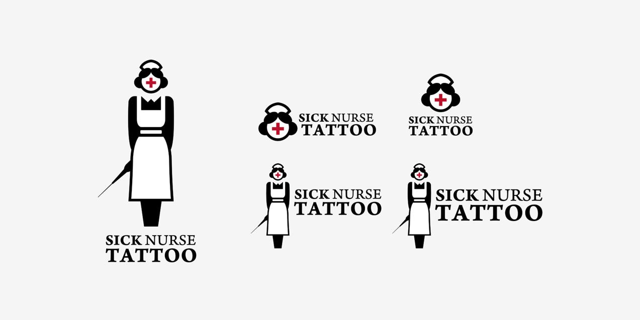 diseño de versiones de logotipo de Sick Nurse Tattoo