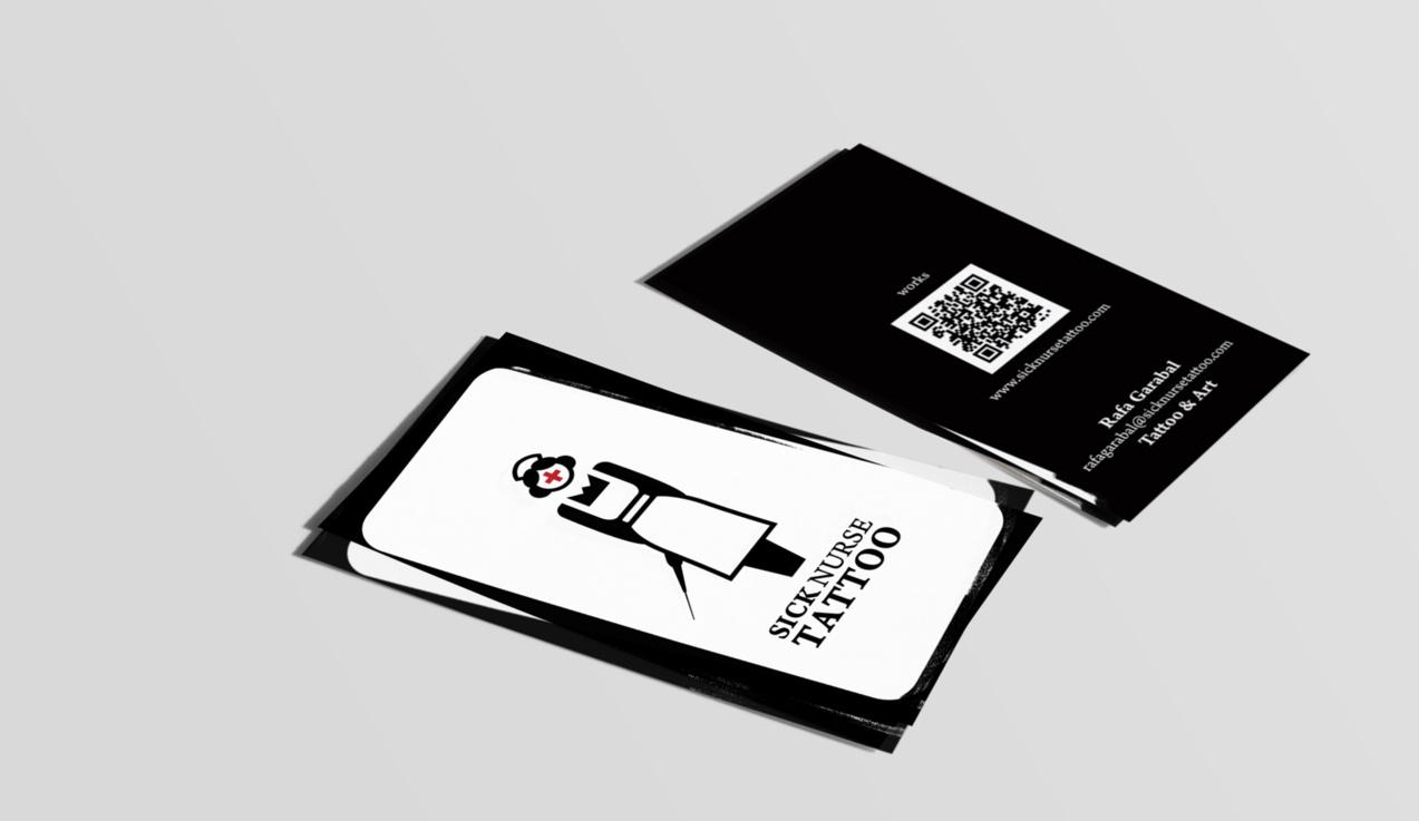 diseño de tarjetas de visita de Sick Nurse Tattoo