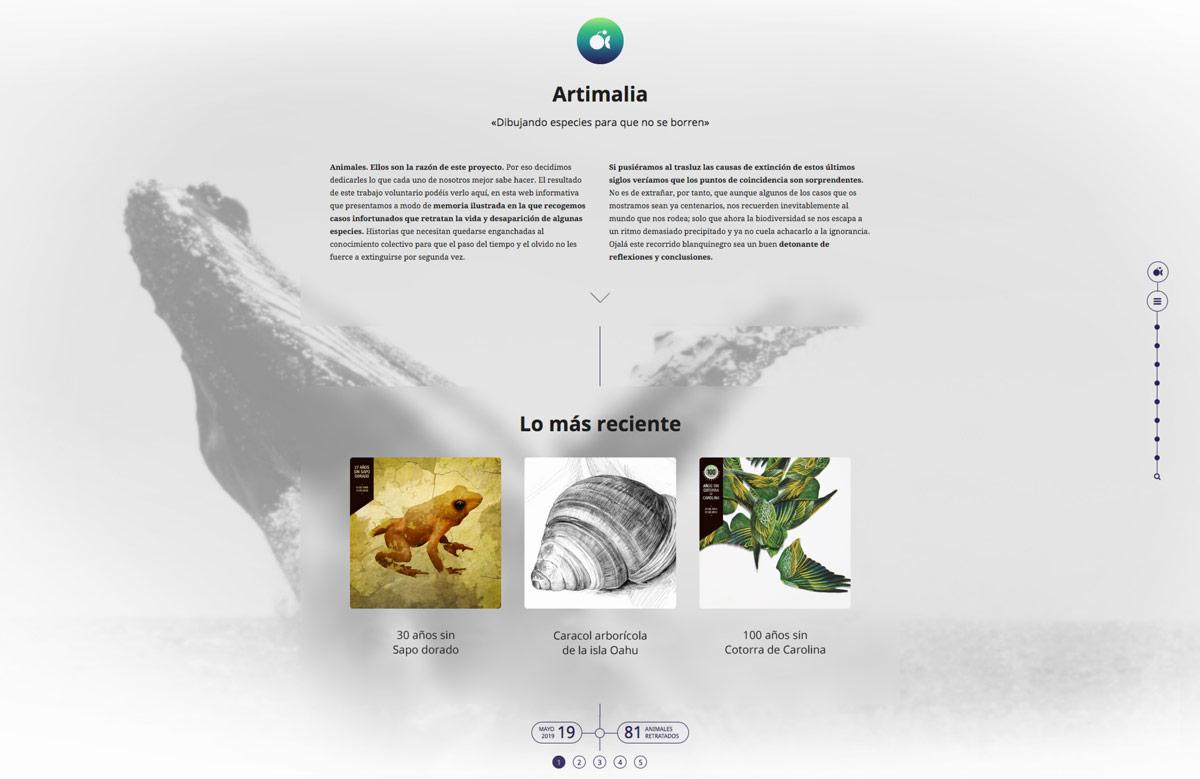 diseño de blog para Artimalia