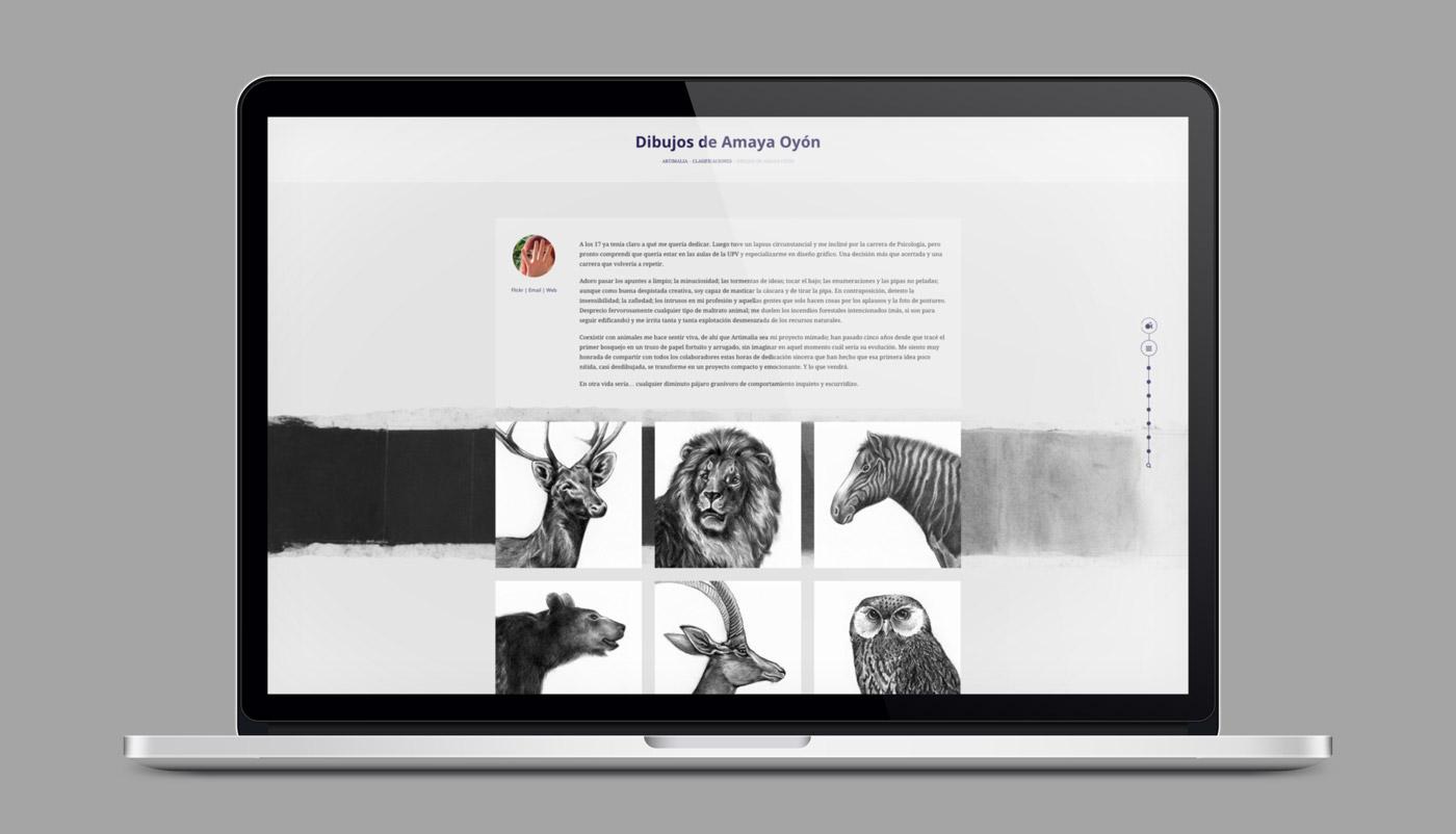 presentación en laptop de diseño de página de autor para blog artimalia.org