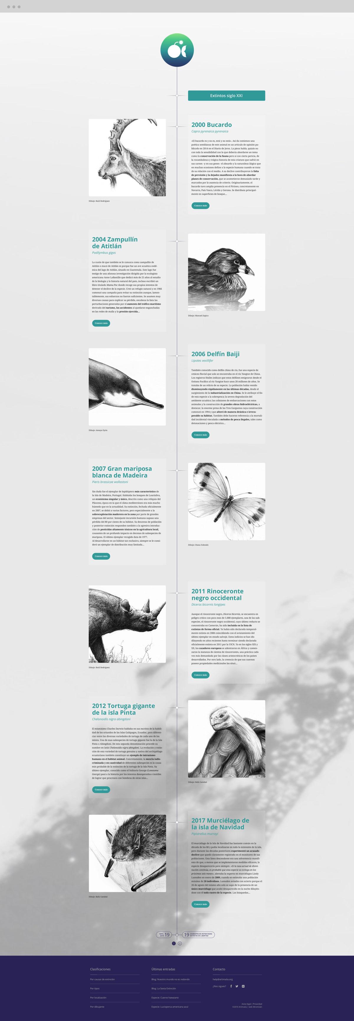 diseño web de línea de tiempo para Artimalia