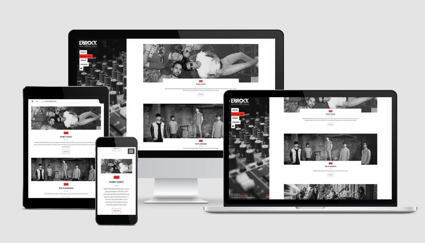 diseño de página web para festival de música Ebrock sección Grupos vista en varios dispositivos