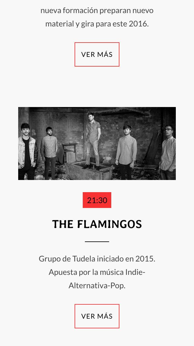 diseño de pantalla móvil para grupo The Flamingos para Ebrock Festival