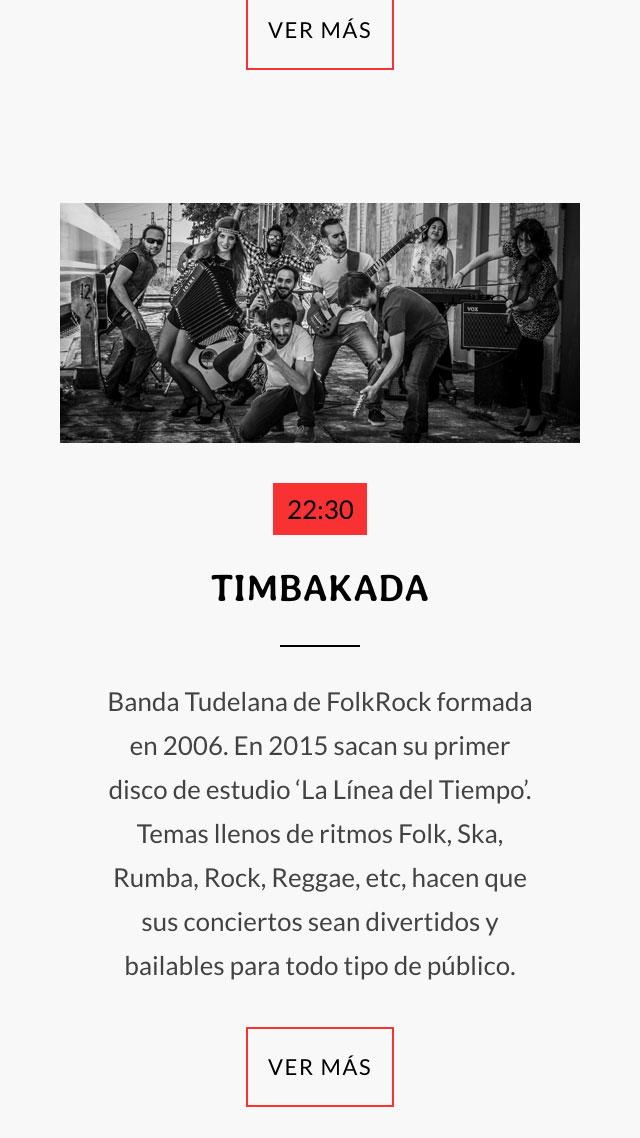 diseño de pantalla móvil para Timbakada para Ebrock Festival