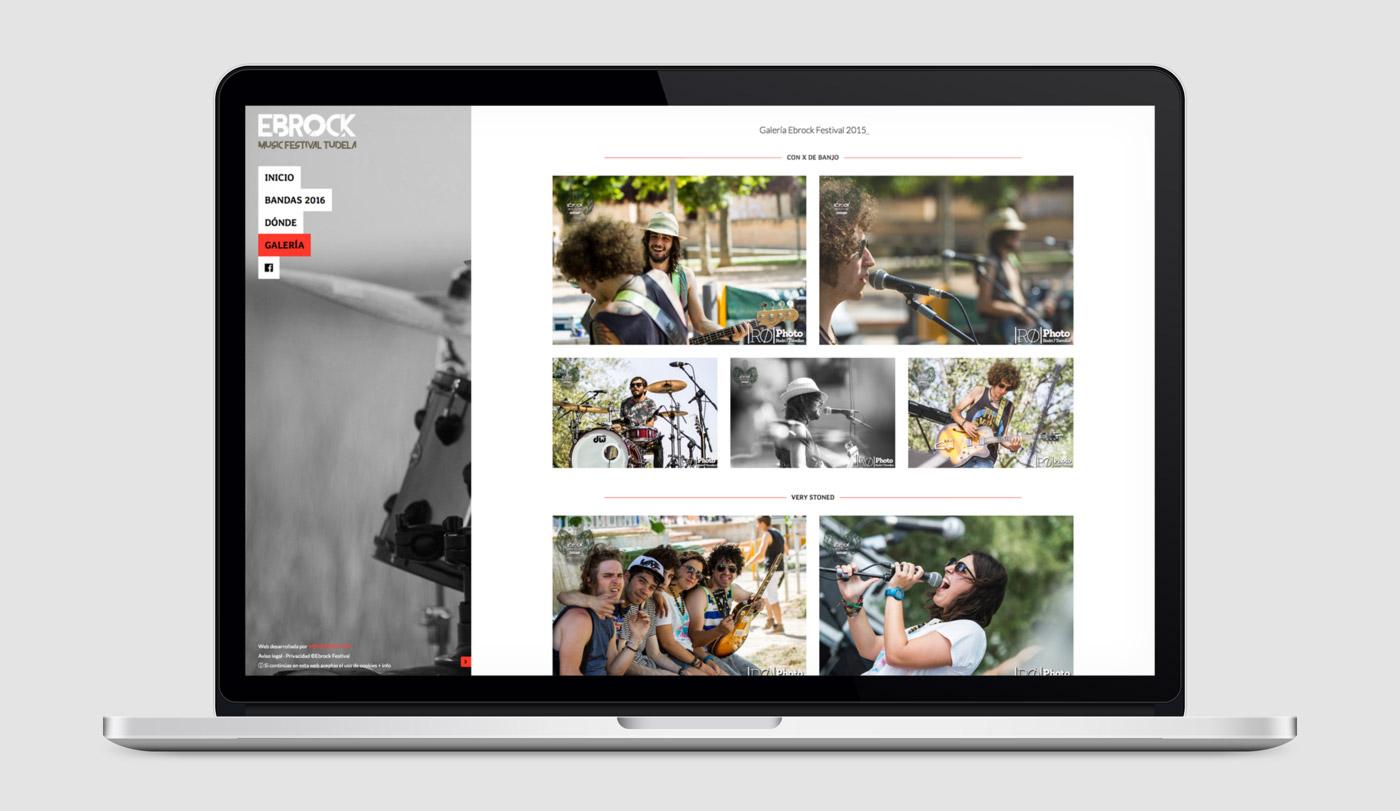 diseño de galería fotográfica para Ebrock Festival