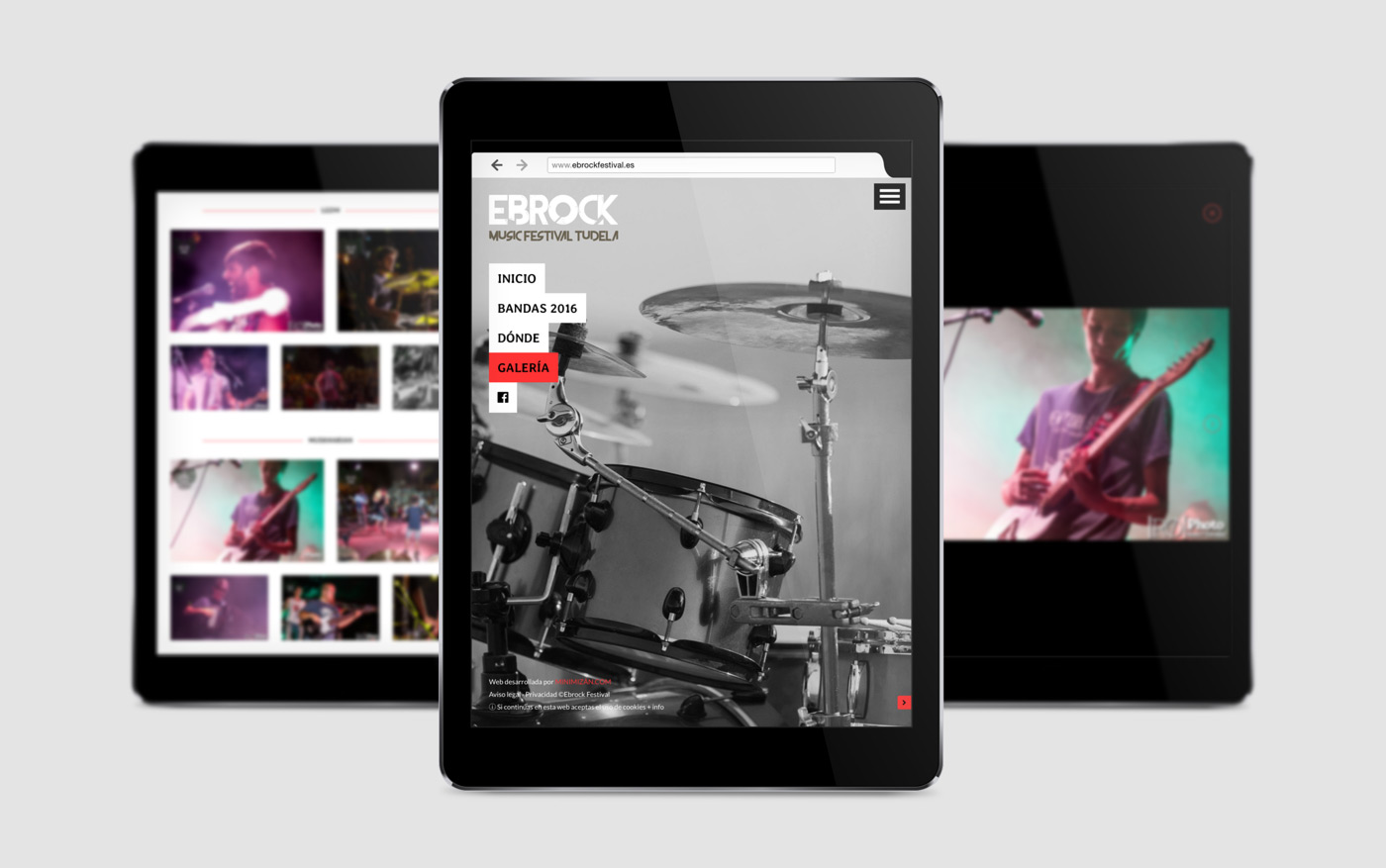 diseño de página web para festival de música Ebrock comportamiento responsivo