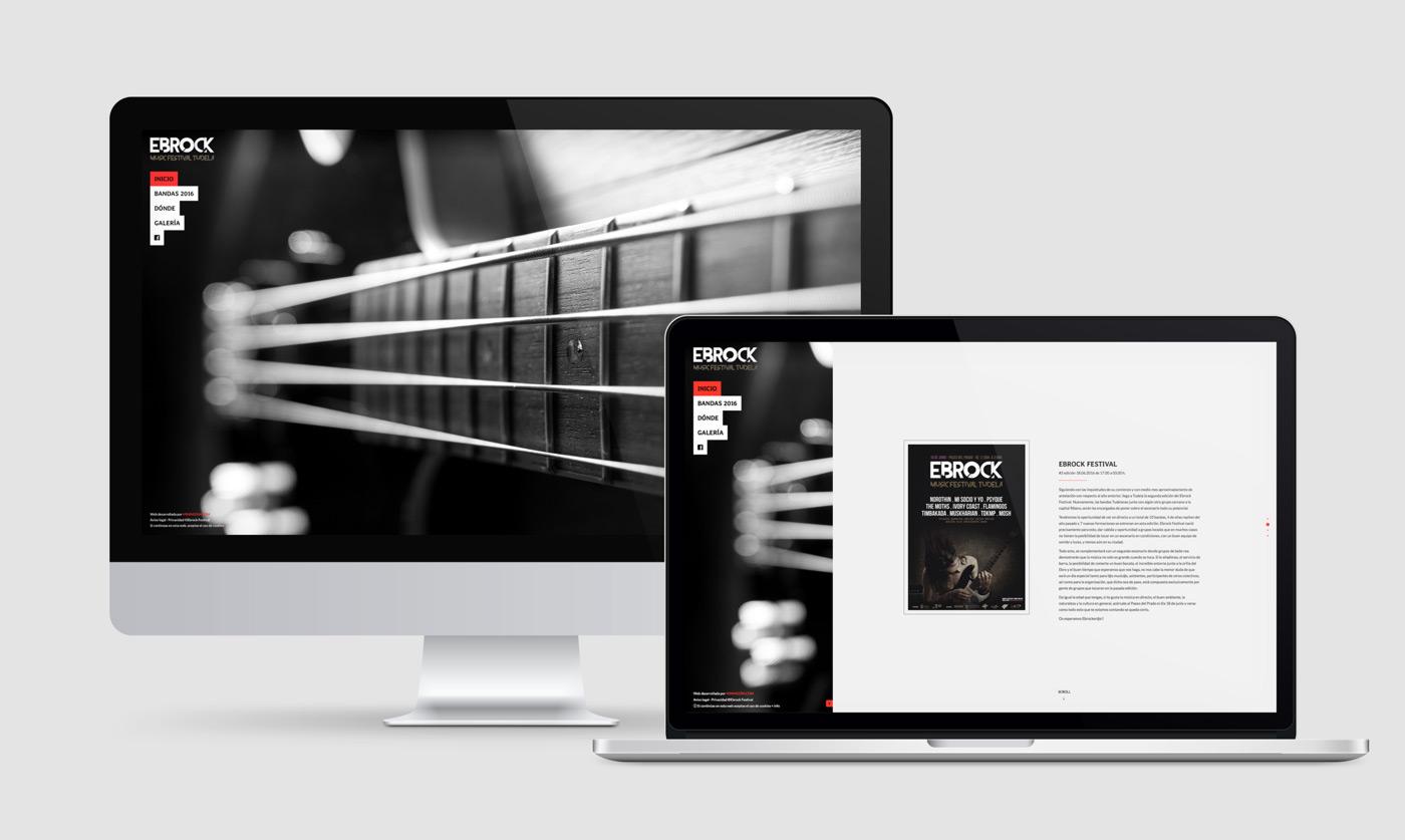 diseño de página web para festival de música Ebrock sección Menú