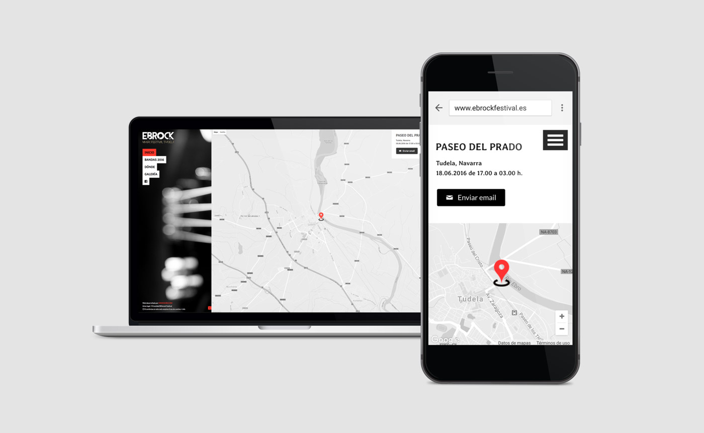 diseño de contacto web multidispositivo para Ebrock Festival