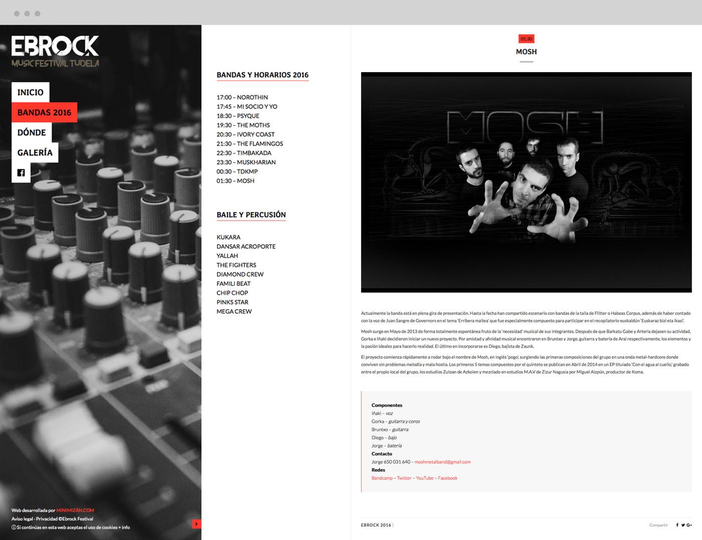 diseño de pantalla web de escritorio para grupo Mosh para Ebrock Festival