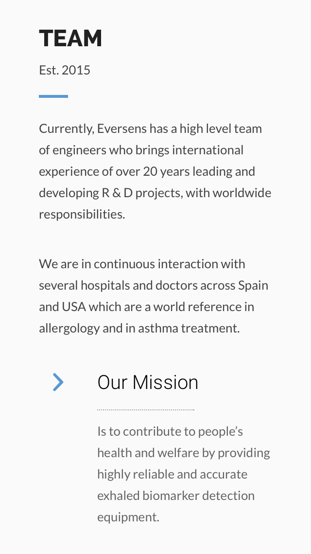 diseño de pantalla para móvil sección equipo para EverSens