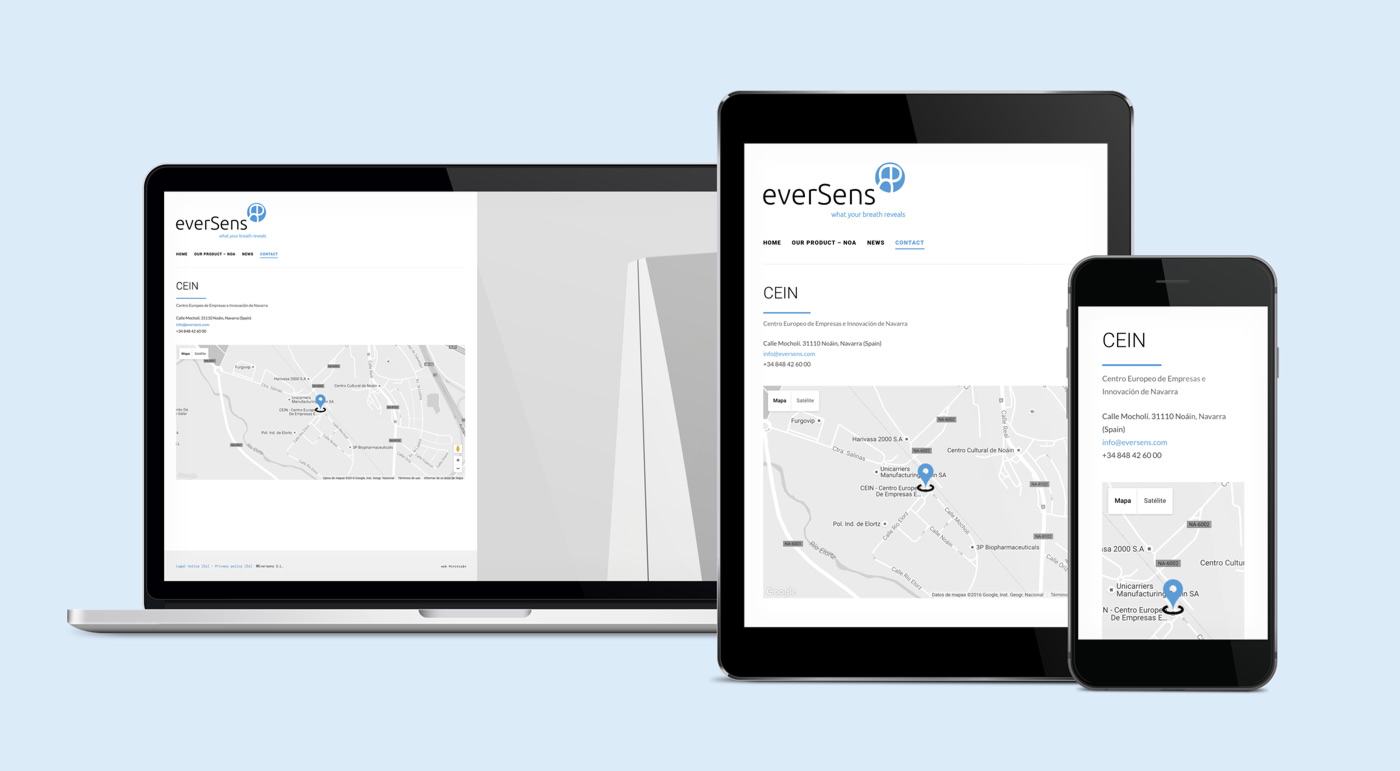 presentación de diseño de web de producto para Eversens en varios dispositivos sección contacto
