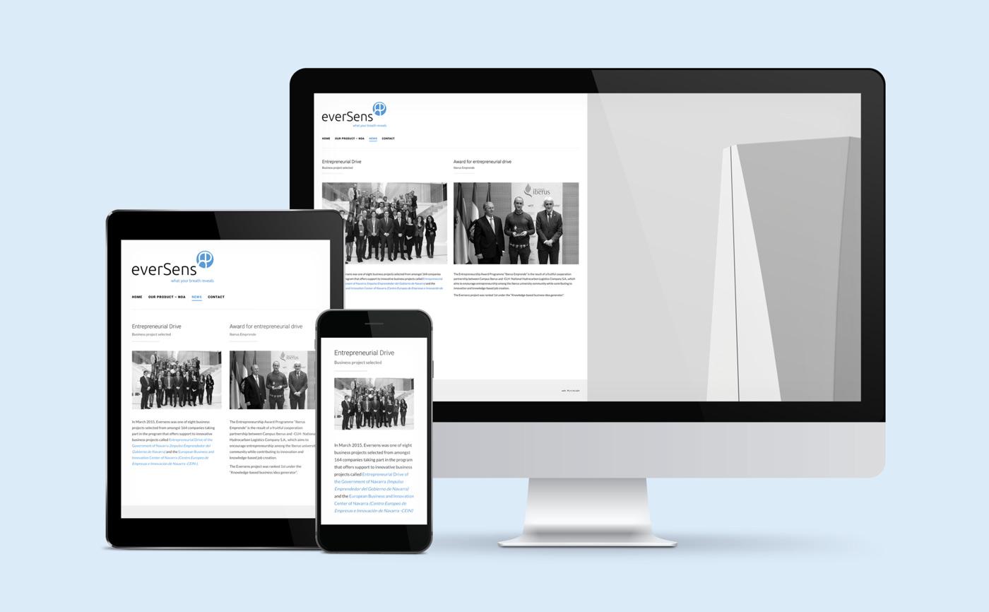 presentación de diseño de web de producto para Eversens en varios dispositivos sección noticias