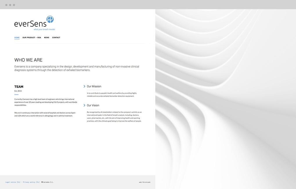 presentación de diseño de web de producto para Eversens sección nosotros