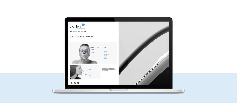presentación de diseño de web de producto para Eversens en portatil sección inicio