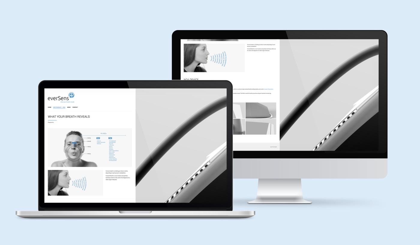 presentación de diseño de web de producto para Eversens en laptop y desktop sección producto