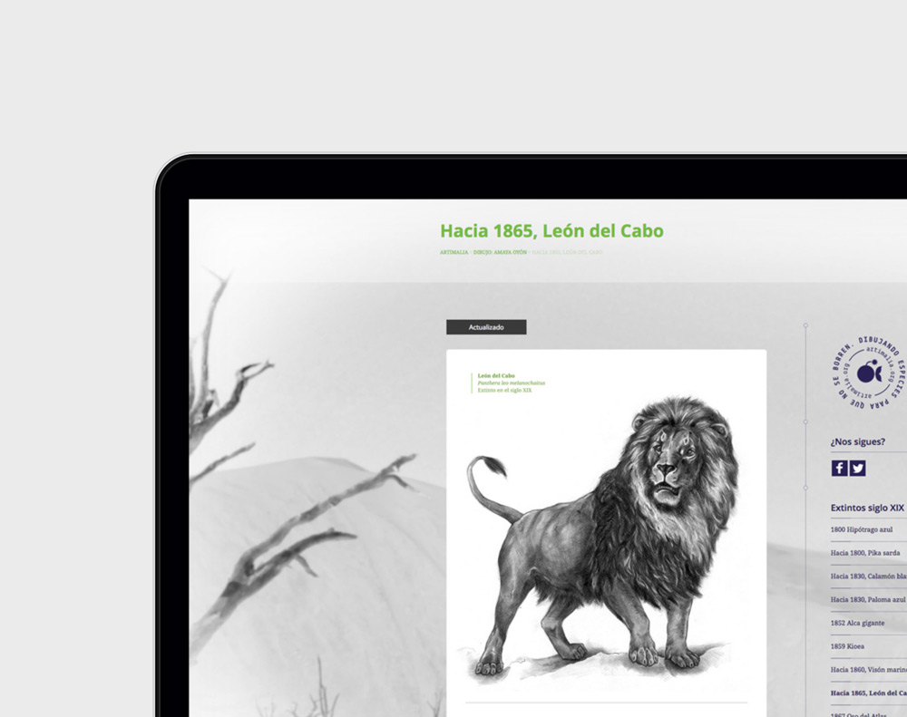 presentación diseño página web de blog de naturaleza Artimalia en laptop