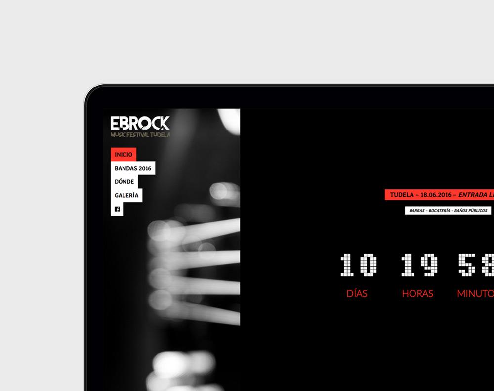 presentación diseño página web de festival demúsica Ebrock Festival en laptop