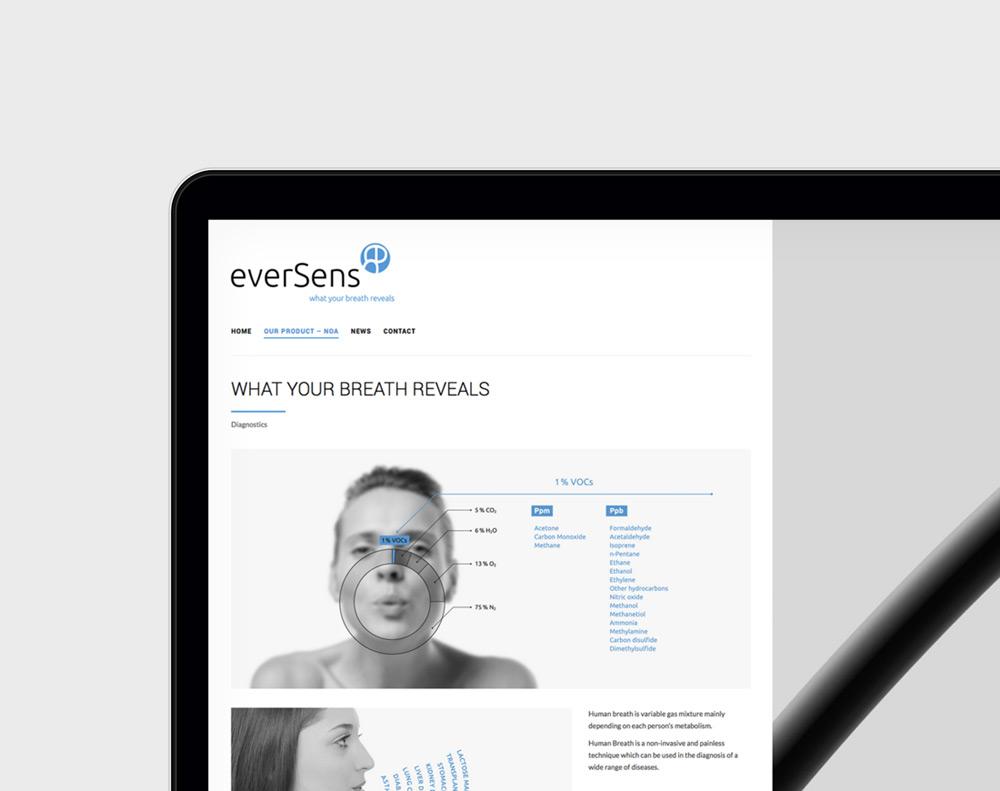 presentación diseño página web de producto sanitario Eversens en laptop