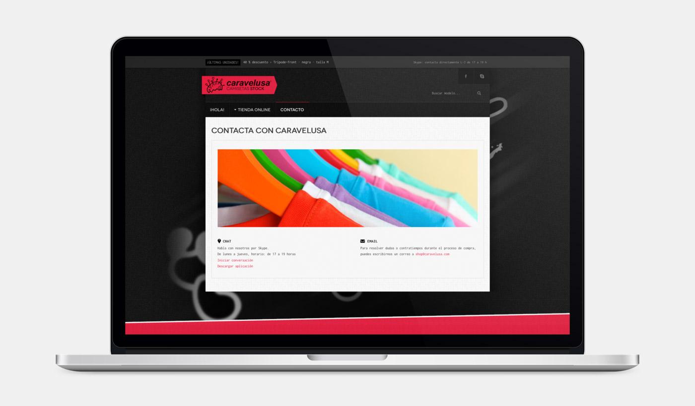 diseño de página de contacto en e-commerce para Caravelusa