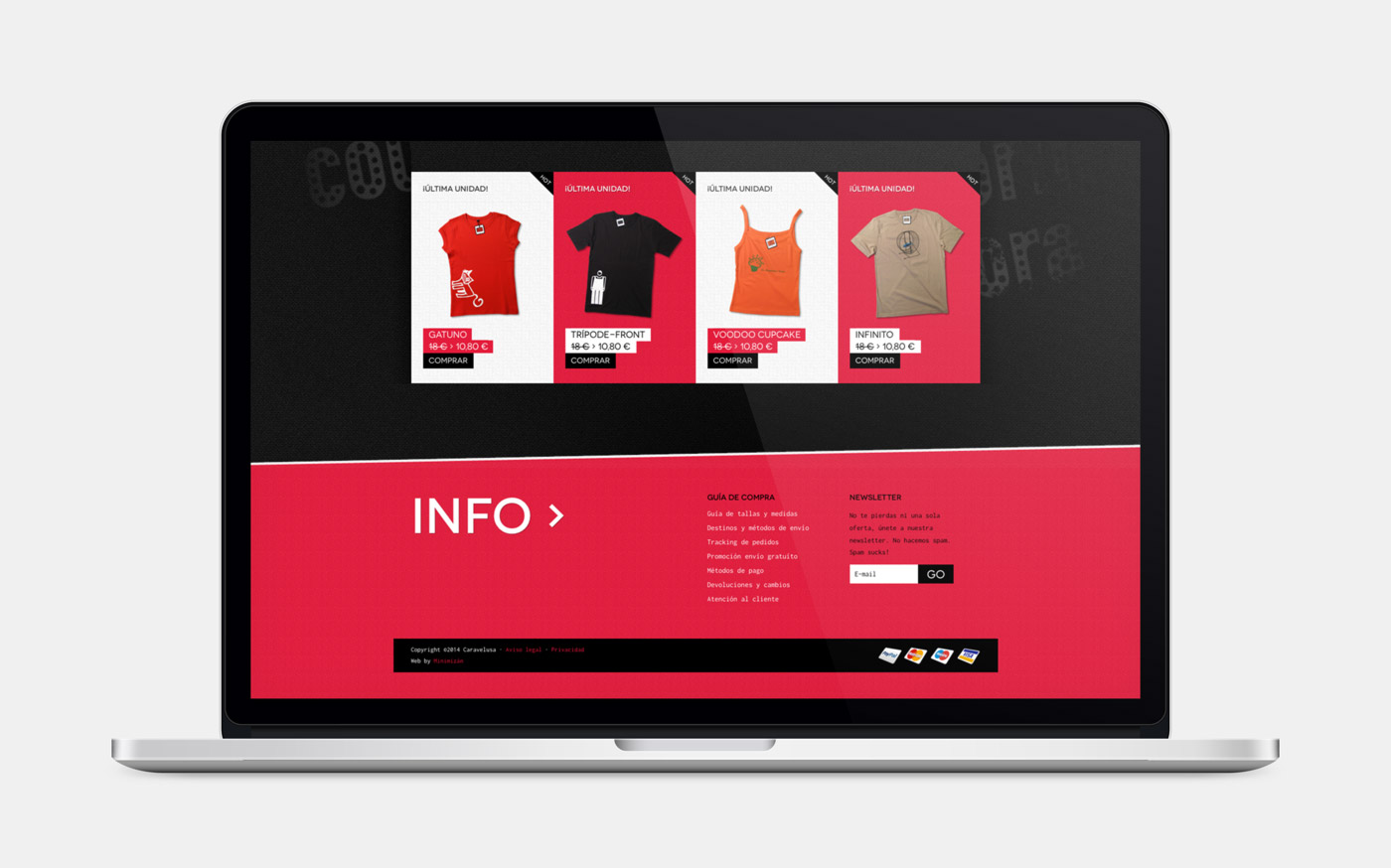 diseño de página web sección footer para Caravelusa