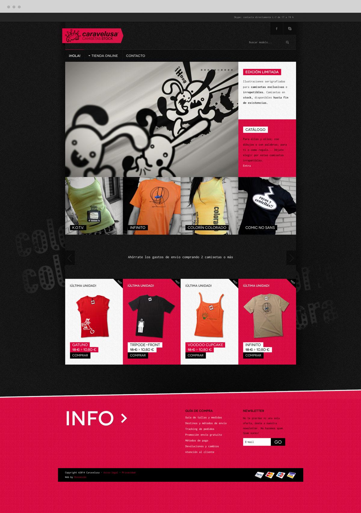 diseño página web sección Home para Caravelusa