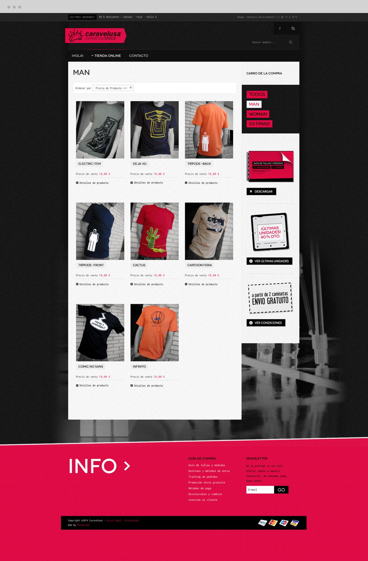 diseño de sección Hombre para tienda online para Caravelusa