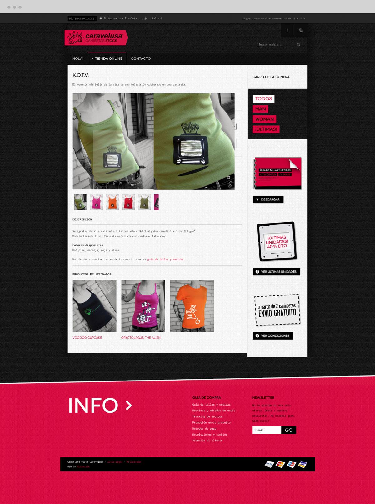 diseño de artículo femenimo en tienda online para Caravelusa