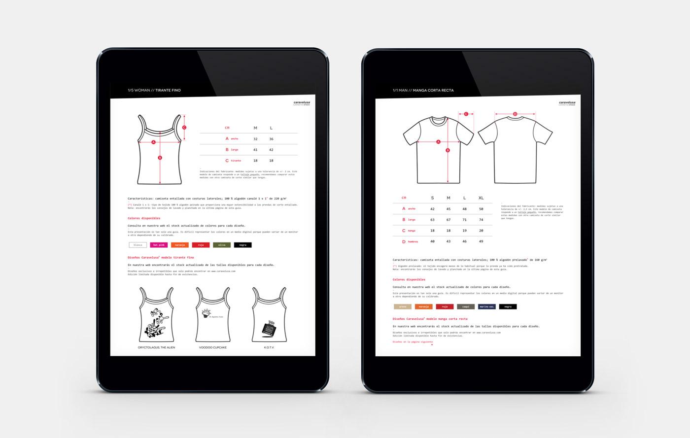diseño de guía de tallas para tienda online para Caravelusa