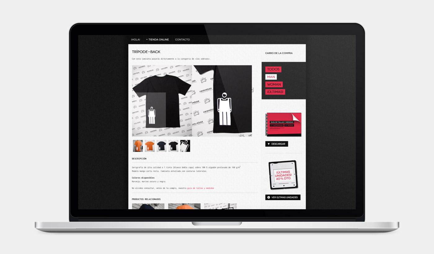detalle de producto en diseño de tienda online para Caravelusa