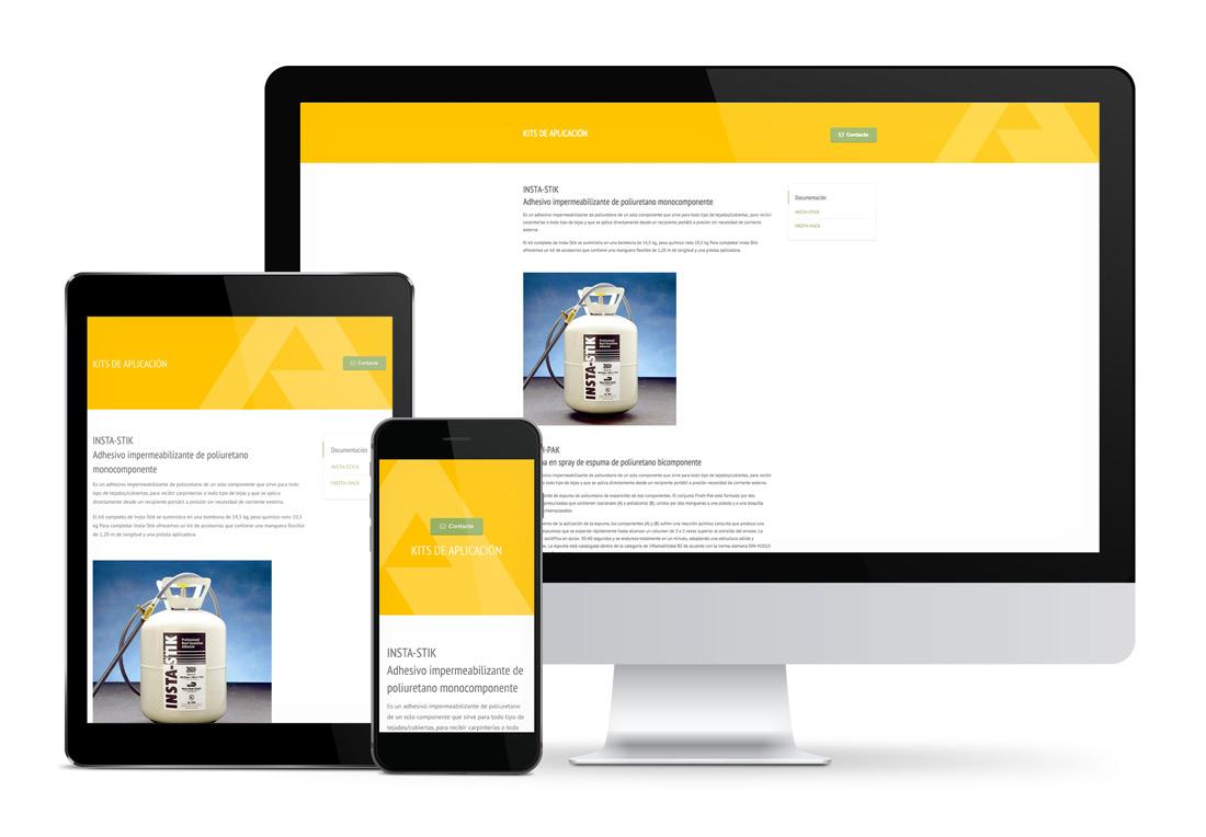 diseño de página de productos para tienda online de Grupo Aismar