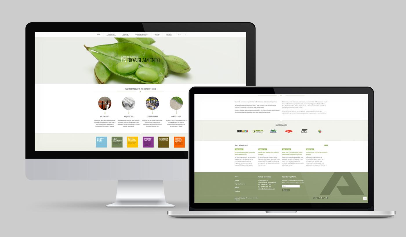 diseño de web secciones Inicio y Pié para Grupo Aismar