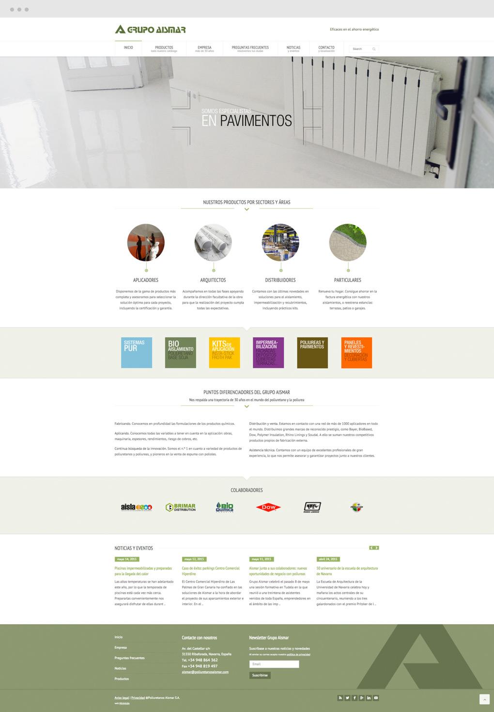 Diseño de página de Inicio para Grupo Aismar