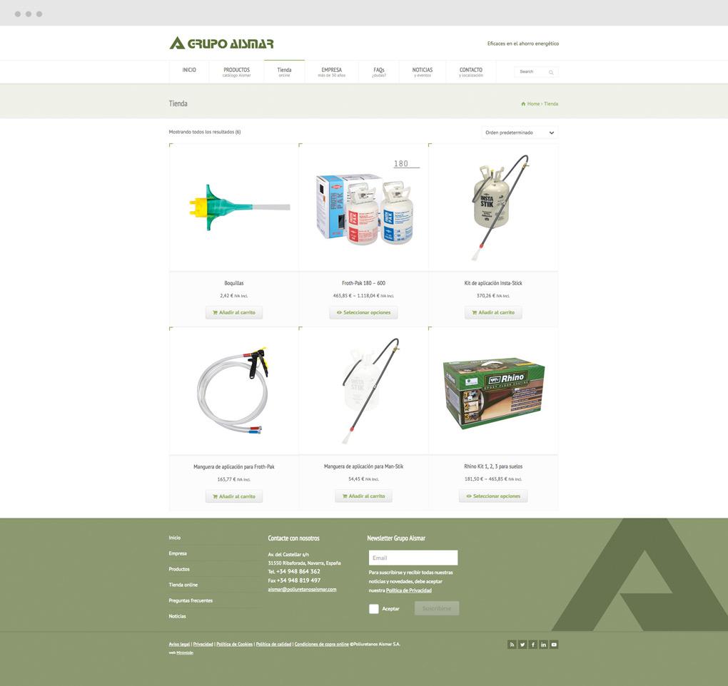 diseño de tienda online para Grupo Aismar