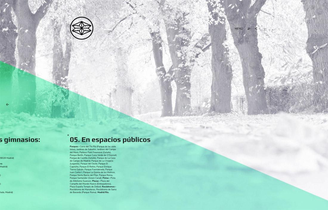 diseño de pantalla de lugares de entrenamiento para Éxito 28 Madrid