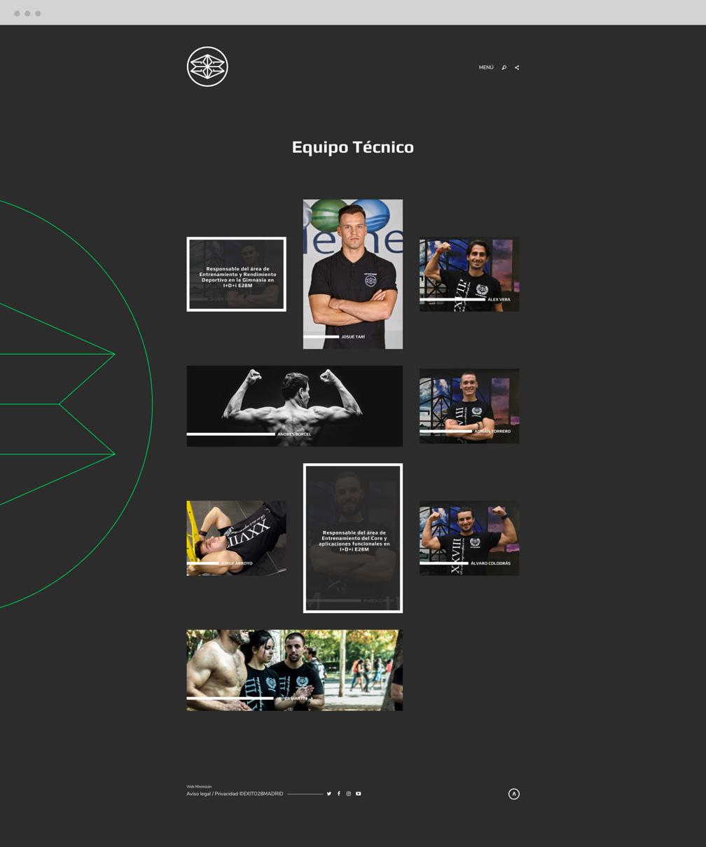 diseño web de sección Equipo para Éxito 28 Madrid