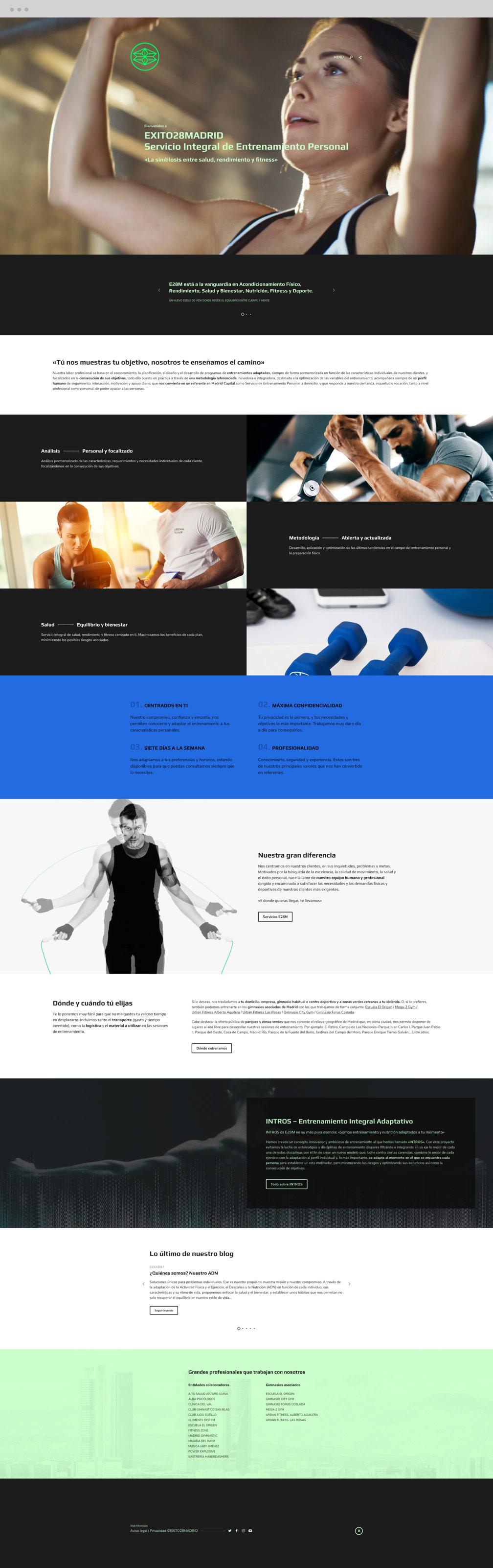 diseño web sección Inicio para Éxito 28 Madrid