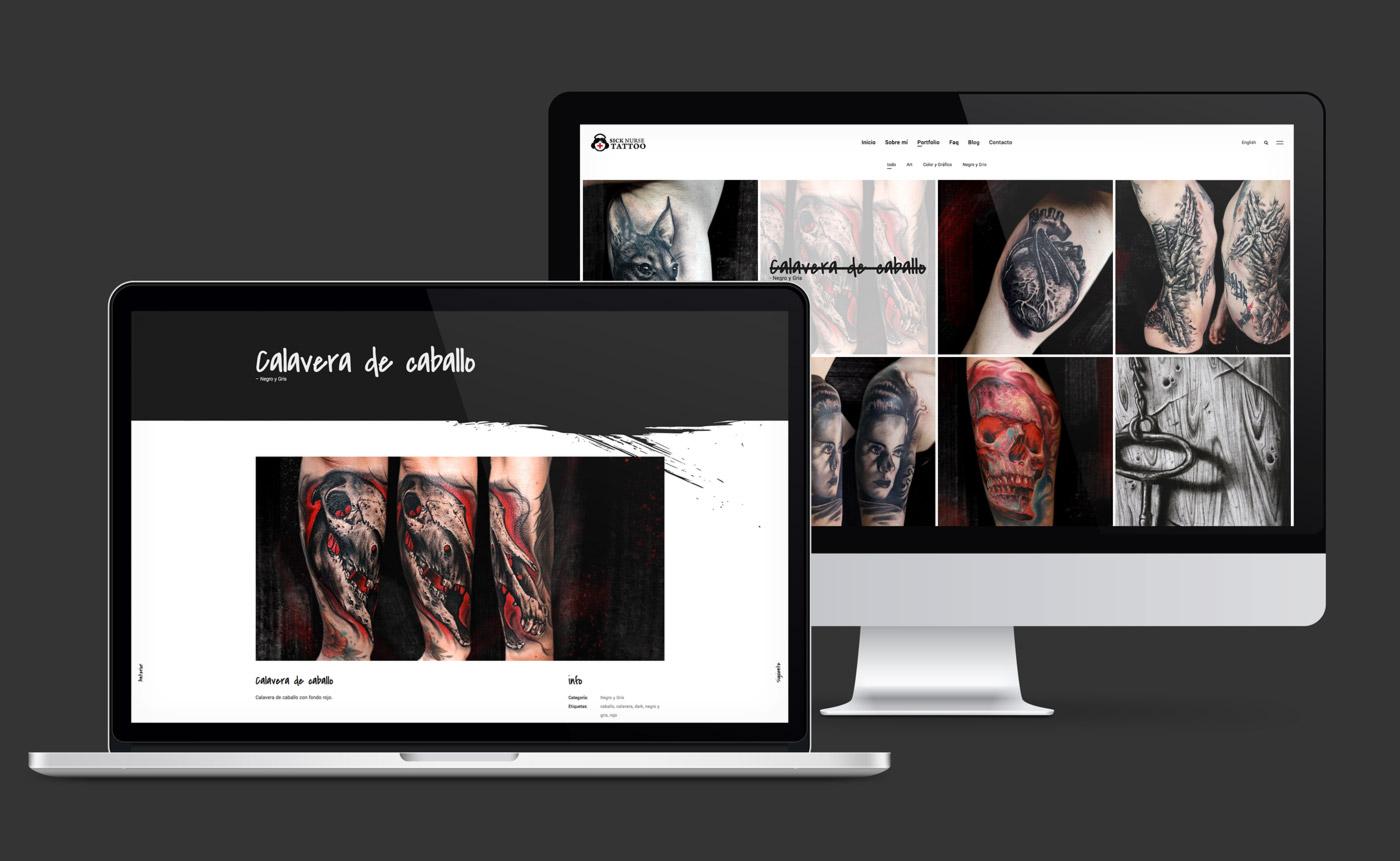 presentación en dispositivos de diseño web de Sick Nurse Tattoo