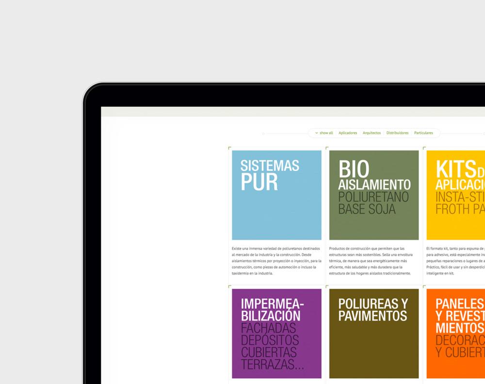 presentación diseño página web de producto industrial Poliuretanos Aismar en laptop