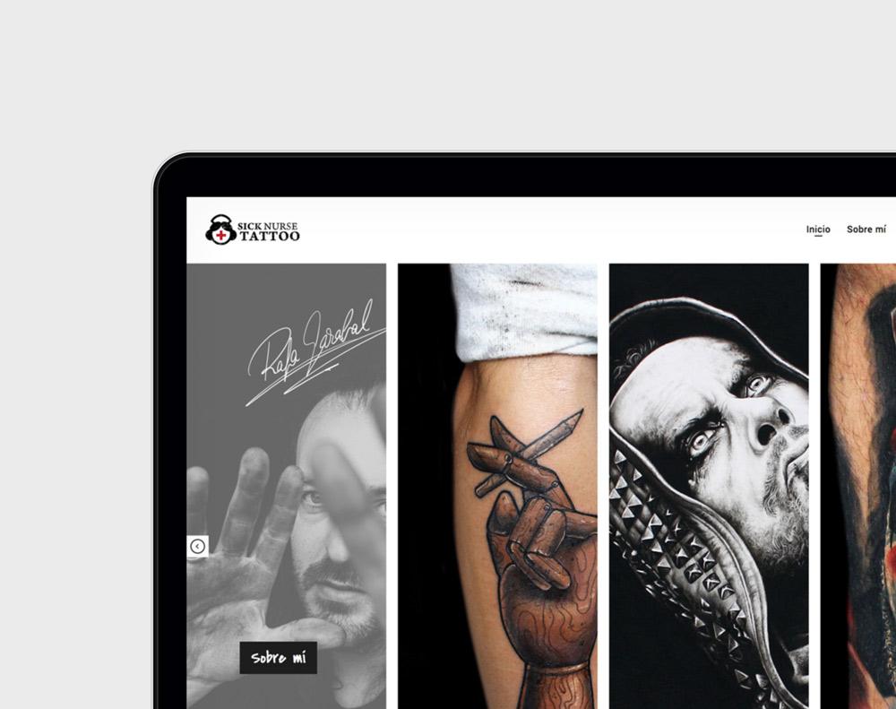 presentación de home page del diseño de la web sicknursetattoo.com