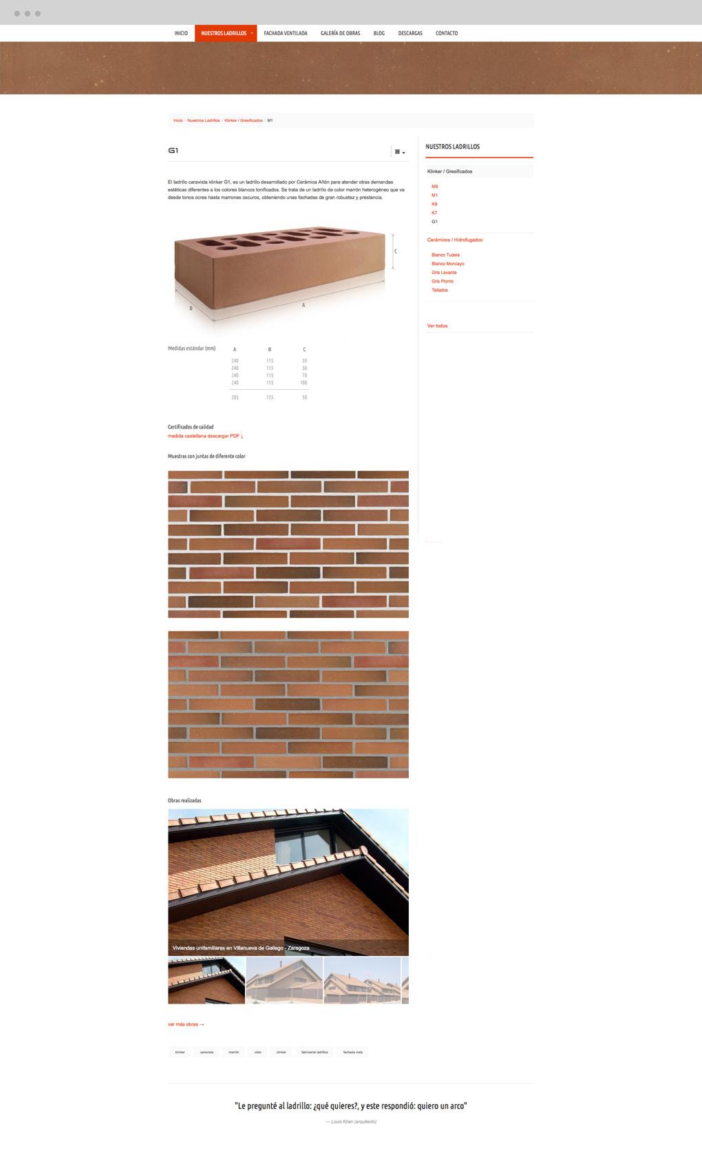 rediseño web de presentación de producto para Cerámica Añón