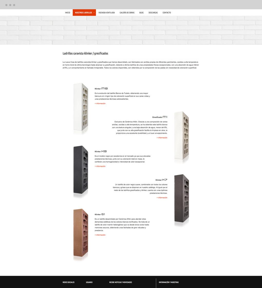 rediseño web de layout de productos para Cerámica Añón