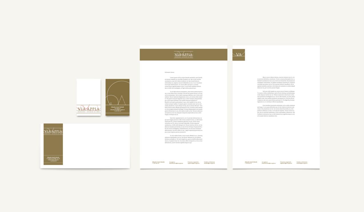 diseño de papelería corporativa para Via Appia Ingeniería y Estudios de Obra