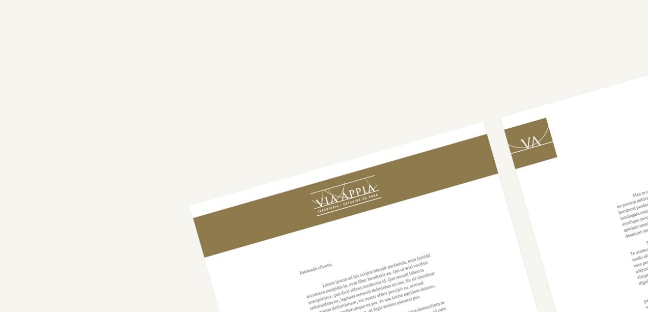 detalle de cabecera de diseño de papelería corporativa para Via Appia Ingeniería y Estudios de Obra