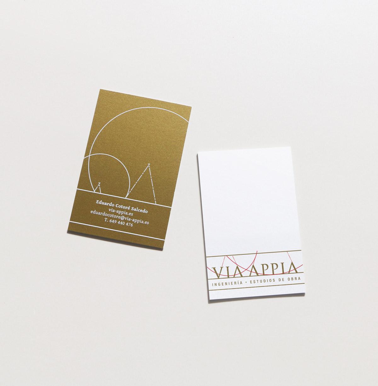 diseño de tarjetas de visita premium para Via Appia Ingeniería y Estudios de Obra, amberso y reverso