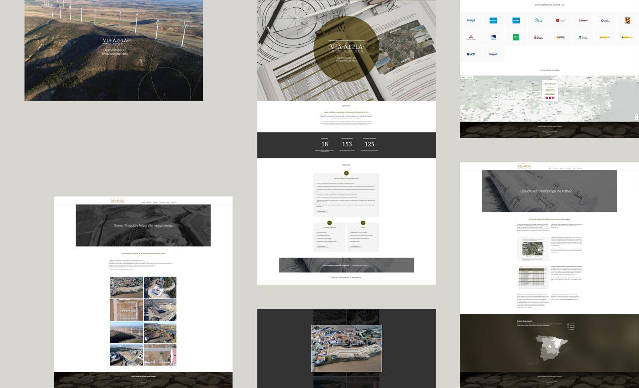diseño de web corporativa para Via Appia Ingeniería y Estudios de Obra presentación de varias pantallas